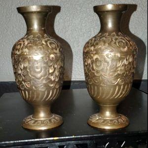 Vintage pair of brass vases